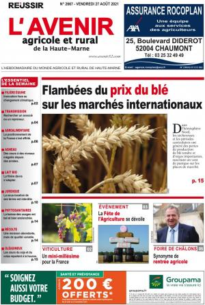 La couverture du journal L'Avenir Agricole et Rural n°2618 | septembre 2020